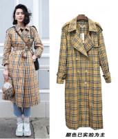 Windbreaker Autumn of 2018 XS S M L XL Yellow Plaid windbreaker thin yellow Plaid windbreaker thickened Long sleeves routine Medium length commute 4-22