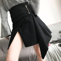 skirt Spring of 2018 XS S M L Light orange yellow white black Middle-skirt sexy High waist Irregular Solid color Type A 25-29 years old brocade cotton