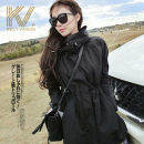 Windbreaker Autumn of 2018 S M L XL 2XL black Long sleeves routine Medium length commute zipper Hood routine Self cultivation Korean version KELLY VINSON four million five hundred and eighty-five thousand six hundred and forty-six 81% (inclusive) - 90% (inclusive) polyester fiber polyester fiber