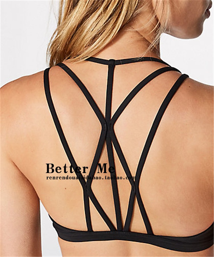 Sports bra Type V No steel support White black Navy Other / other XS S M L XL 1/2 Fixed shoulder strap Low support Back beauty sport