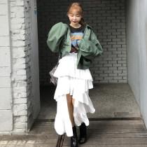 skirt Summer of 2018 Average size Red pink fresh High waist Irregular Solid color 18-24 years old Chiffon stylenanda nylon