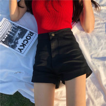 Jeans Summer of 2018 Blue black S M L shorts High waist Straight pants routine 18-24 years old Cotton elastic denim light colour Other / other