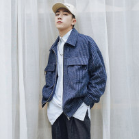 Jacket Other / other Youth fashion Grey blue M L XL routine easy Other leisure autumn Long sleeves Wear out Lapel Japanese Retro youth routine Zipper placket 2018 stripe