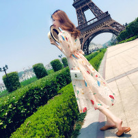 Dress Summer of 2018 Apricot [in activity. About to increase price 79 yuan] s ml XL 2XL longuette singleton  elbow sleeve commute Crew neck High waist Socket 18-24 years old Type A Korean version 31% (inclusive) - 50% (inclusive) other other