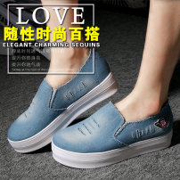 Low top shoes 35 36 37 38 39 40 Other / other Light blue dark blue black Round head Muffin bottom PU Midmouth Middle heel (3-5cm) PU Spring 2016 Trochanter street Adhesive shoes Youth (18-40 years old) middle age (40-60 years old) Solid color polyurethane Shoe of sponge cake Muffin with cloth X-13
