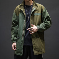 Windbreaker Youth fashion Others 4XL 5XL M L XL 2XL 3XL Navy green Medium length easy Front and middle zip placket Other leisure autumn Large size stand collar Japanese Retro Solid color washing Digging bags with lids Fine canvas Color contrast cotton
