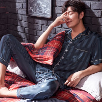 Pajamas / housewear set male Shuxinmei L(170) XL(175) XXL(180) XXXL(185) 3010 (Moran) Polyester (polyester) Short sleeve Simplicity Leisure home summer Thin money Small lapel trousers double-breasted youth 2 pieces rubber string 81% (inclusive) - 95% (inclusive) three thousand and ten 200g and below
