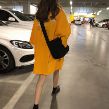 T-shirt White yellow Average size Summer of 2018 Short sleeve Crew neck easy Medium length routine commute cotton 96% and above 18-24 years old Korean version letter Other / other printing