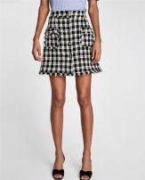 skirt Summer of 2018 XS S M L Black and white Short skirt street High waist lattice TRAF Europe and America