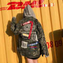 short coat Spring of 2018 Average size camouflage Long sleeves Medium length routine singleton  easy Original design routine Hood Dot 18-24 years old 31% (inclusive) - 50% (inclusive) Pocket stitching printing 3D Stickers sixty-nine thousand seven hundred and thirty-nine cotton