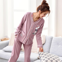 Pajamas / housewear set female Mienccais Women's M (75-95 Jin) women's l (95-115 Jin) women's XL (115-135 Jin) women's XXL (135-155 Jin) women's XXL (155-170 Jin) collection baby priority delivery to join the shopping cart freight insurance White cloud pink bird pink pink bear group blue line cotton