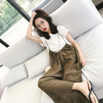 Casual pants Olive suspenders white top S M L Summer 2017 Ninth pants Wide leg pants High waist Thin money 18-24 years old straps