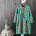 Dress Winter 2017 Navy green Average size Mid length dress singleton  Long sleeves Sweet stand collar High waist Decor Socket routine To drill hemp
