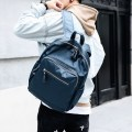 Backpack Nylon  Etonweag / Eaton wig Blue black brand new in zipper leisure time Double root Street trend soft youth no Soft handle Solid color Yes male All waterproof Vertical square Zipper pocket, mobile phone bag, certificate bag polyester fiber Sewing no 14 inches Inner patch pocket