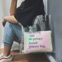 Bag The single shoulder bag PVC Child mother bag Meiyastyle / Meiya Color silver brand new Japan and South Korea large leisure time soft Exposure no written words Single root One shoulder hand nothing youth Vertical square letter Soft handle synthetic leather