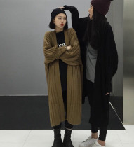 sweater Autumn 2016 One size fits all Black army green Khaki Long sleeves Cardigan singleton  Medium length V-neck thickening commute bishop sleeve stripe Straight cylinder Regular wool Keep warm and warm 18-24 years old Xiangfei bird XFN10401 Pure e-commerce (online only)