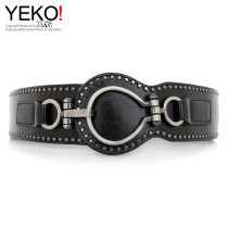 Belt / belt / chain Pu (artificial leather) black female Waistband Versatile Single loop Youth, middle age a hook rivet soft surface 6cm alloy Yeko yes
