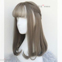 Whole wig Green wood flax grey green wood flax grey + small comb + care solution flax Brown flax brown yellow + 6-Piece set High temperature silk Long curly hair Sweet and lovely Fashion girl Air bangs Princess Li 082 hair cover Change your hairstyle instantly Princess Li 082 hair cover