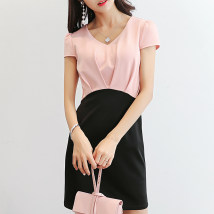Dress Spring of 2018 Pink sky blue SMLXLXXL Short skirt singleton  Short sleeve commute V-neck High waist Socket Others 25-29 years old Caidaifei Korean version 247RX Polyester fiber 93.6% polyurethane elastic fiber (spandex) 6.4%