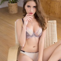 Bra Set  70B 70C 70D 75B 75C 75D 80B 80C 80D 85B 85C 85D Pure shrimp powder light gray Victoria fruit There are steel rings Briefs Detachable shoulder strap low-waisted Ultrathin cup 3/4 sexy S M L XL Type V Rear double row buckle Gather together Young women Plants and flowers lesbian  summer nylon
