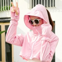 short coat Summer of 2018 Average code White green pink sky blue Long sleeve Short paragraph Thin section Single Loose Raglan sleeves Wild Hooded