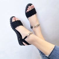 Sandals three billion five hundred and thirty-six million three hundred and seventy-three thousand eight hundred and thirty-nine Apricot black Beautiful front Suede Barefoot Slope heel Middle heel (3-5cm) Summer of 2018 Flat buckle neutral Solid color Adhesive shoes Youth (18-40 years old) rubber PU