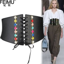Belt / belt / chain Pu (artificial leather) black female Waistband Versatile Single loop Youth, middle age Smooth button rivet soft surface 12cm alloy