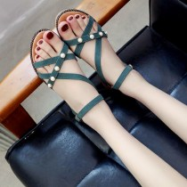 Sandals three billion five hundred and thirty-six million three hundred and seventy-three thousand eight hundred and thirty-nine Black Khaki Green Romantic Saturday PU Barefoot Flat heel Low heel (1-3cm) Summer of 2018 Flat buckle Korean version Solid color Adhesive shoes Youth (18-40 years old)