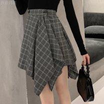skirt Spring of 2019 2XL 125-140, XL 115-125, s 85-95, l 105-115, m 95-105 black Short skirt Versatile High waist A-line skirt lattice Other / other