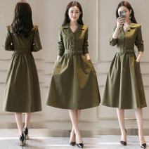 Dress Autumn of 2019 Black, Burgundy, khaki, army green M,L,XL,2XL Mid length dress singleton  Long sleeves commute Polo collar middle-waisted Solid color Socket A-line skirt routine More than 95% other other