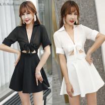 Dress Summer of 2019 Black, white S,M,L,XL Short skirt singleton  Short sleeve commute V-neck High waist Solid color Socket One pace skirt other Others Type A