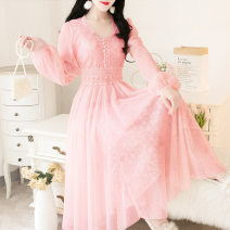 Dress Spring 2020 Apricot, pink M,S,L longuette singleton  Long sleeves Sweet V-neck Loose waist Solid color Socket Princess Dress puff sleeve Others 18-24 years old More than 95% Lace other