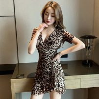 Dress Summer 2020 Leopard Print S,M,L,XL,2XL Miniskirt singleton  Short sleeve commute V-neck middle-waisted Leopard Print other Ruffle Skirt routine Others 18-24 years old Type A 71% (inclusive) - 80% (inclusive) Lace polyester fiber