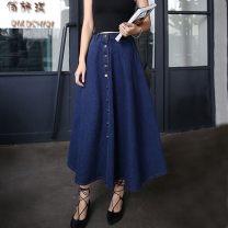 skirt Spring of 2019 S,M,L,XL Dark blue, light blue, white T-shirt Miniskirt High waist More than 95% Other / other other