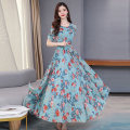 Dress Summer 2020 longuette singleton  Short sleeve commute Crew neck High waist Decor Socket routine Others 40-49 years old Type A Lace up, printed More than 95% Chiffon other