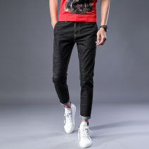 Jeans Youth fashion Others 28,29,30,31,32,33,34,36,38 Tn-809 nine point blue, tn-809 nine point black blue, tn-789 pants blue, tn-789 Pants Black Blue, pants nine point routine Micro bomb Mercerized denim Ninth pants Travel? spring youth middle-waisted Slim feet tide 2018 Pencil pants zipper other