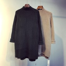 sweater Spring 2021 Average size Khaki, dark grey, white, black, apricot Long sleeves Socket singleton  Medium length other 95% and above High collar Regular commute routine Solid color Straight cylinder Regular wool Keep warm and warm 18-24 years old Splicing