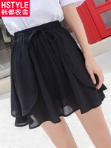 skirt Summer of 2018 SML Khaki black Short skirt commute Natural waist Irregular Solid color 25-29 years old LU8270 Hstyle / handu clothing house Retro