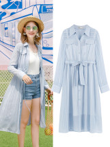 Dress Summer of 2018 Blue dress with drawstring XS S M L XL Mid length dress Two piece set Long sleeves street Polo collar Loose waist stripe Single breasted A-line skirt routine Type A Mg elephant bow MA84296 polyester fiber Europe and America