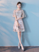 Dress / evening wear Weddings, adult gatherings, company annual meetings, daily appointments SMLXLXXLXS Champagne white light blue Korean version Middle-skirt middle-waisted Fall 2017 Skirt hem U-neck zipper spandex 18-25 years old yunstton-015 elbow sleeve other Yunstton / Winton other other