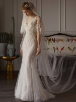 Wedding dress Spring 2018 white SMLXL Small tail Korean version zipper MSMN1831 Hotel indoor Three-dimensional cutting Middle waist Shoulder 18-25 years old Net yarn Mosomane / mosomani Flowers Sleeveless shawl Large size Pure electricity supplier (only online sales) Handmade flowers Net yarn