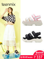 Sandals White black three hundred and forty-three billion five hundred and thirty-six million three hundred and seventy-three thousand eight hundred and thirty-nine Teenmix cloth Flat with Summer of 2018 Open toe High heel (5-8cm) Casual Pure color Youth (18-40 years old) Velcro daily Adhesive shoes