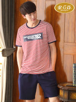 Pajamas / housewear set male Jin Lifen cotton Short sleeve luxurious Leisure home summer Thin money Crew neck stripe shorts Socket youth 2 pieces rubber string More than 95% pure cotton printing A089 200g and below Cotton 100% Summer 2017 Pure e-commerce (online only)
