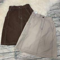 skirt Summer of 2019 Average size Brown, Khaki Sweet Decor 18-24 years old 31% (inclusive) - 50% (inclusive) cotton Pleats, tassels, chiffon