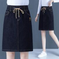 skirt Spring 2021 S,M,L,XL,2XL,3XL,4XL Denim blue Short skirt commute High waist Denim skirt Solid color Type A 30-34 years old Embroidery, pocket Korean version