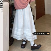 skirt Autumn 2020 Average size white longuette commute High waist Splicing style Solid color 18-24 years old SE other