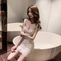 Dress Winter of 2019 White, black S,M,L Short skirt singleton  Sleeveless commute V-neck High waist Solid color Socket One pace skirt routine camisole 18-24 years old Type A backless Lace polyester fiber