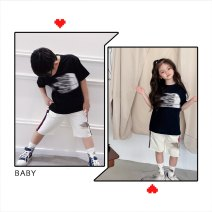 suit Other / other White shorts (late March), black T-shirt (late March) 90cm,100cm,110cm,120cm,130cm,140cm,150cm,160cm,L,M,S male summer leisure time Short sleeve + pants Thin money There are models in the real shooting Socket nothing Solid color cotton Expression of love 9, 10, 11, 12, 13, 14