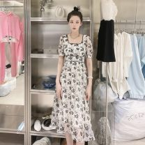 Dress Summer 2021 Decor S,M,L longuette singleton  Short sleeve commute square neck High waist Decor Socket A-line skirt routine Hanging neck style 25-29 years old Type A Britain printing More than 95% Chiffon polyester fiber