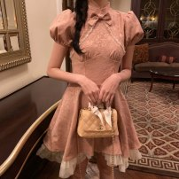Dress Summer 2021 Nude Pink S,M,L Short skirt singleton  Short sleeve Sweet stand collar High waist Solid color zipper A-line skirt routine Others 18-24 years old Type A Other / other Bowknot, fungus, zipper, lace, printing other polyester fiber